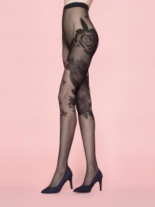 MUSE 20 den tights with floral print all over