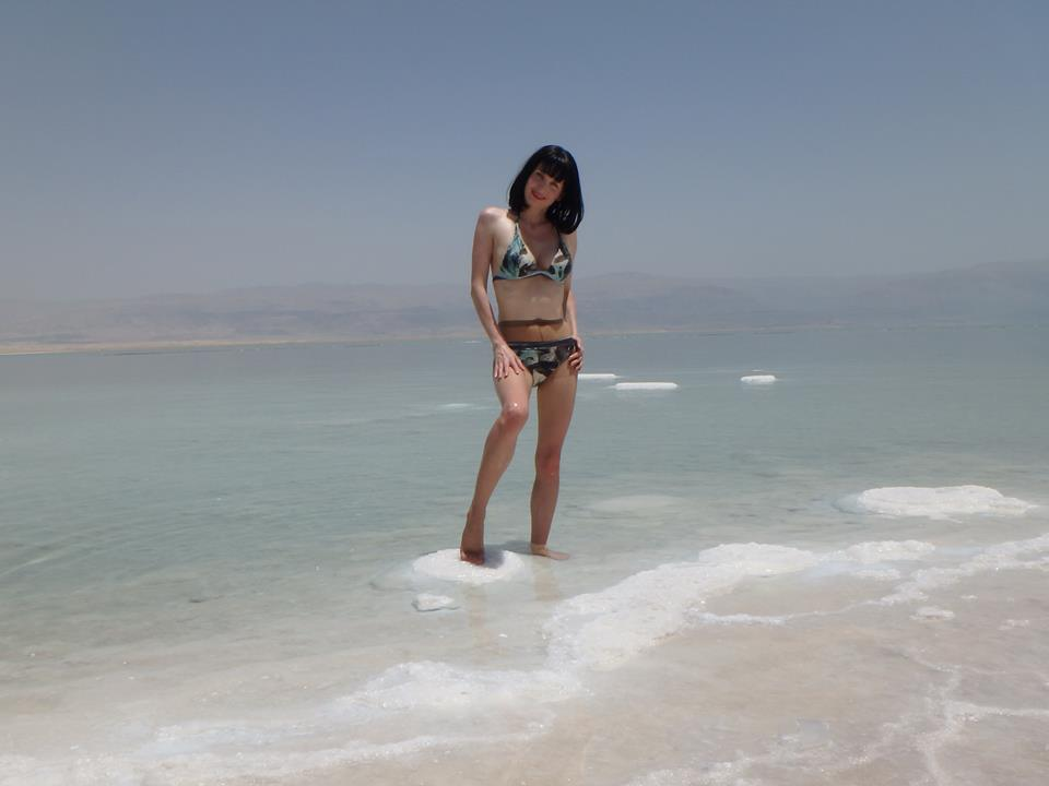 Dead Sea and pantyhose - I am posing in the water.