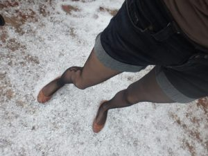 hail and pantyhose on my legs 1