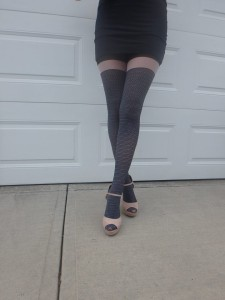 Maloria tights by Fiore on cousin's legs modeling 1