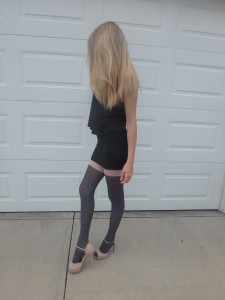 Maloria tights by Fiore on cousin's legs modeling 2