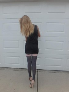 Maloria tights by Fiore on cousin's legs modeling 4