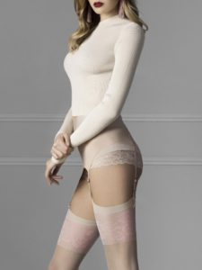classic belt stockings in nude shade with pink flowers