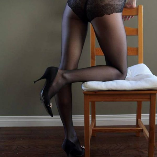 French cut panty with lace design. Sheer 20 den pantyhose from Fiore hosiery line.