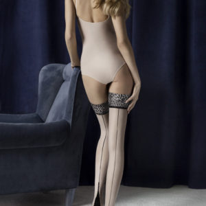 lust-20-den stay up stockings with leopard print welt and backseam, Cuban heel, RHT, reinforced heel and toe, Fiore