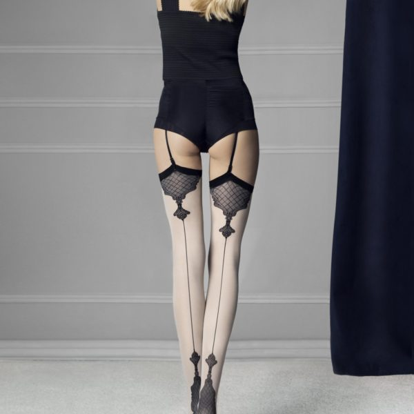 vanity-40-den backseam cuban heel stockings by Fiore with contrast colours