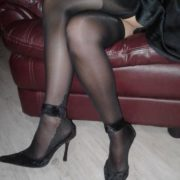 Vanity stockings by Fiore in black on a model 3