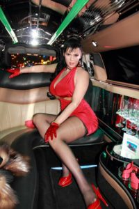 Anna Azelri stockings in a limo