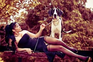 Anna Azerli and her dog stockings