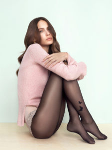 BUTTERFLY 20 den sheer tights by Fiore butterfly pattern on the side, available in plus size, queen size, XL