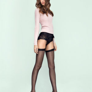 CHATTY 20 den dotted stockings for wearing with garter belts, available in plus size, queen size, XL