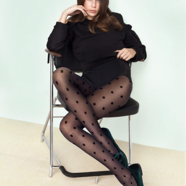 ENCORE 20 den by Fiore pantyhose with polka dots available in plus size XL sheer