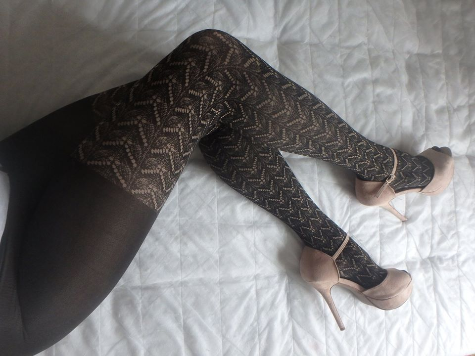 Heidi by Fiore tights over knee woven pattern on my legs pantyhose