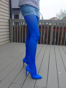 Paula pantyhose by Fiore in cobalt shade on my legs