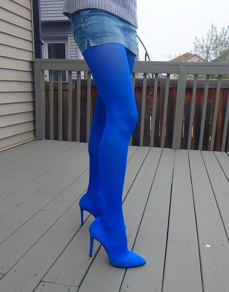 40 den microfiber tights in blue