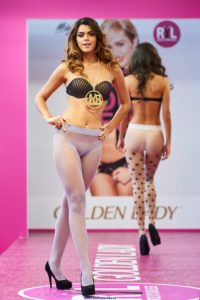 golden lady seamless pantyhose fashion show models on the runway pattern lilac and polka dot tights
