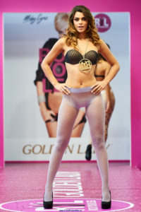 golden lady seamless pantyhose fashion show models on the runway pattern lilac tights