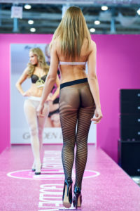 golden lady seamless pantyhose fashion show models on the runway podium catwalk5 black striped tights