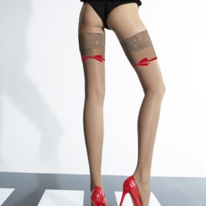 Felipa stay up stockings by Fiore 20 den natural with beige welt