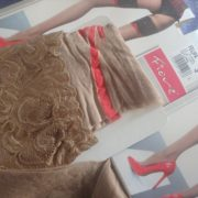 Felipa stay up stockings by Fiore 20 den natural with beige welt out of package
