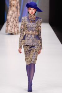 Slava Zaitsev Spring 2017 collection Russian blue and gold outfit