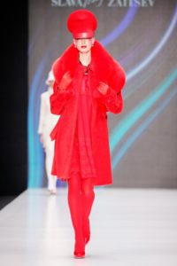 Slava Zaitsev Spring 2017 collection Russian entire red outfit