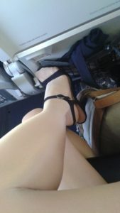 Satin Touch 20 pantyhose on the airplane