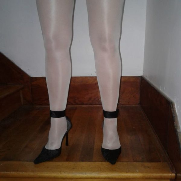 model wears Vanity stockings by Fiore with cuban heel and backseam 3