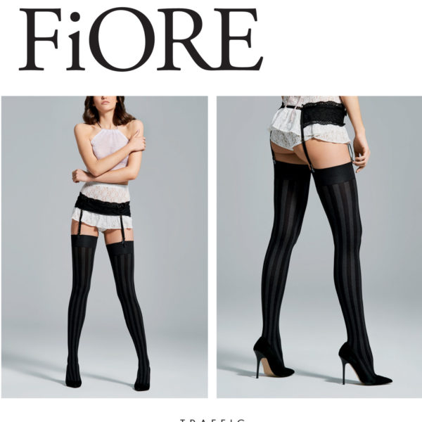 TRAFFIC 60 den 3 opaque striped stockings by Fiore